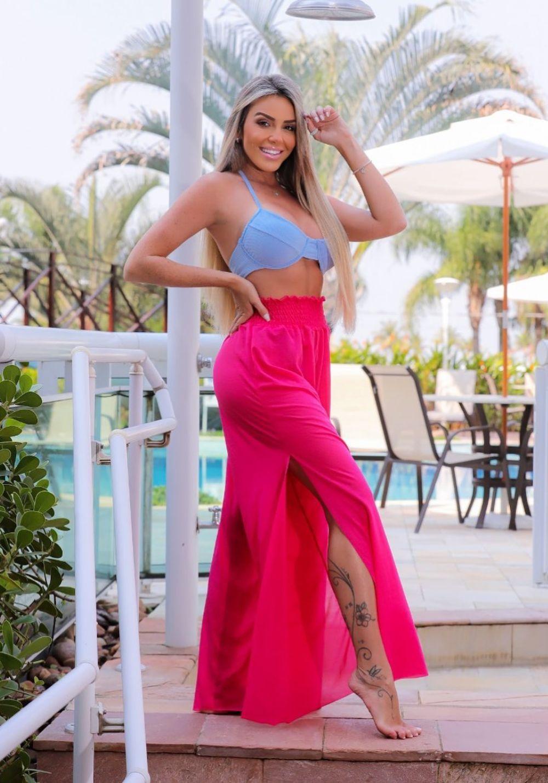 Saída de Praia Calça Pantalona Pink