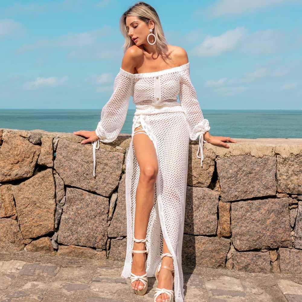 Saída De Praia Longa Ombro a Ombro com Fenda Branca