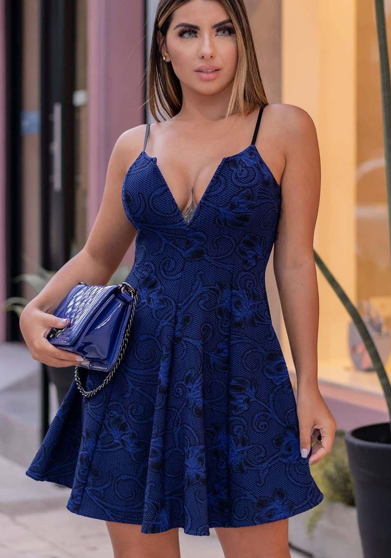 Vestido Curto Boneca Decote V Azul Marinho