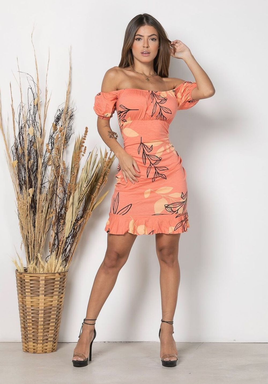 Vestido Curto Ciganinha folhas Laranja