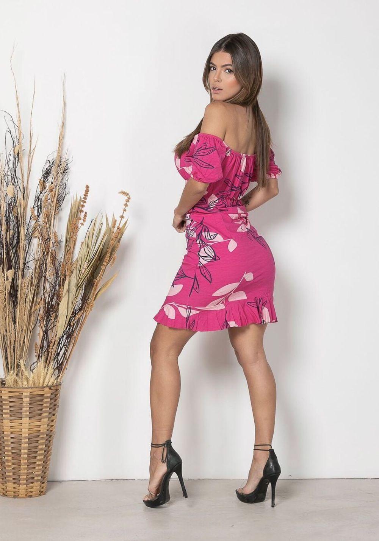 Vestido Curto Ciganinha folhas Rosa