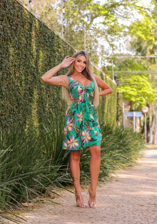 Vestido Curto com lastex Floral Verde