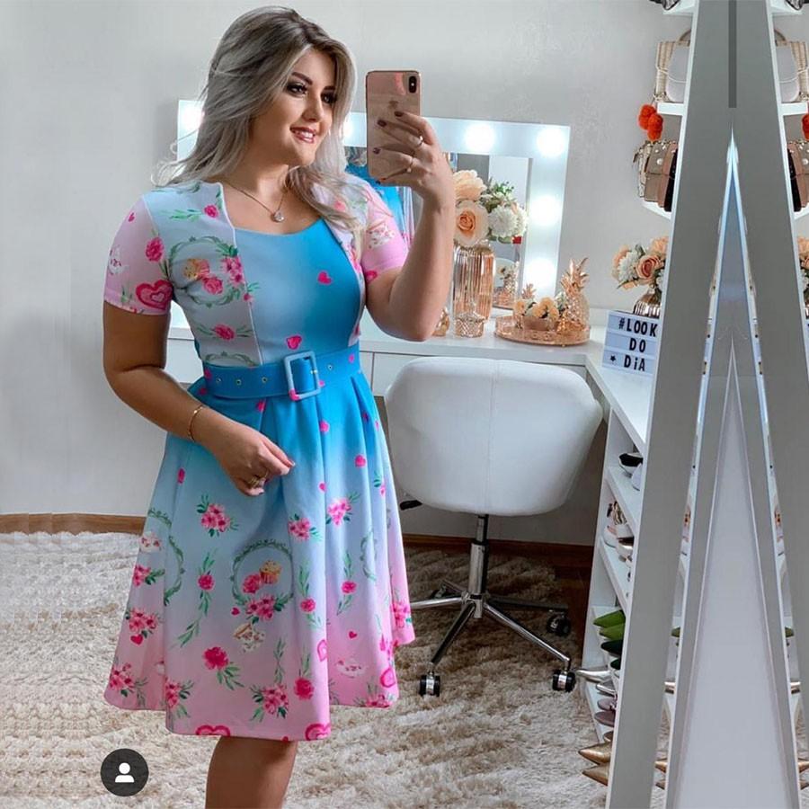 Vestido Curto Floral com Cinto 01