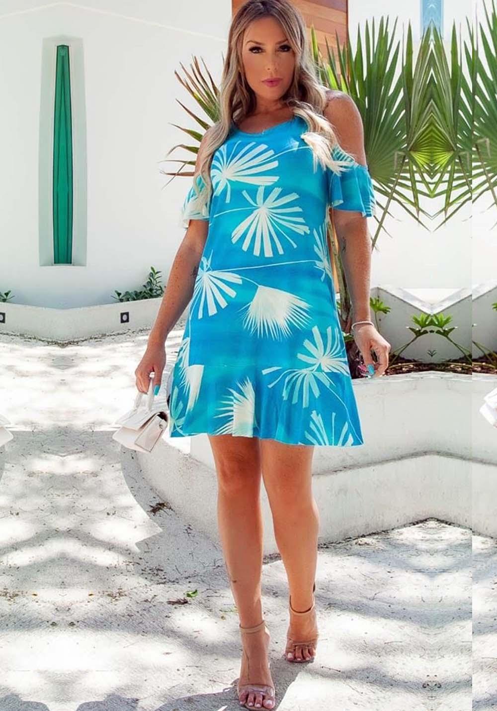 Vestido Curto Peplum Ombro Aberto Folhas Azul