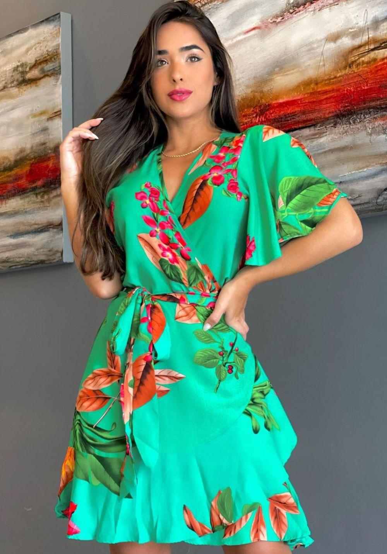 Vestido Curto Rodado Envelope Floral Verde