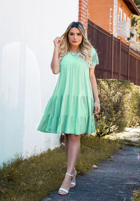 Vestido Curto Rodado Verde Água