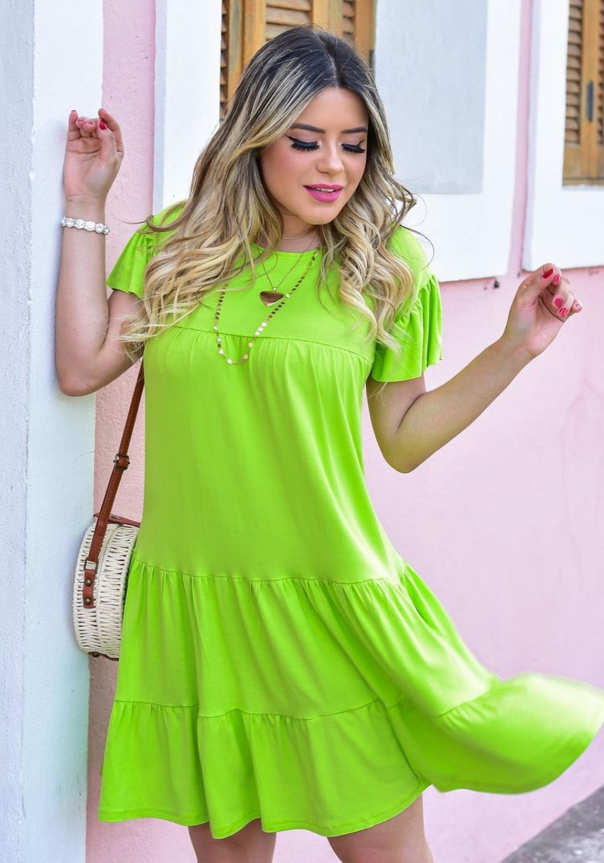 Vestido Curto Rodado Verde Lima