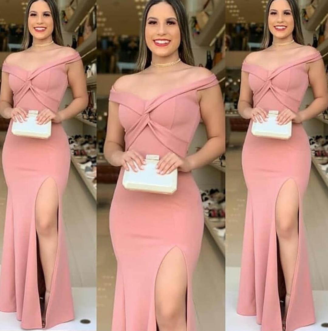 Vestido de Festa Longo com Fenda Trançado Rosê
