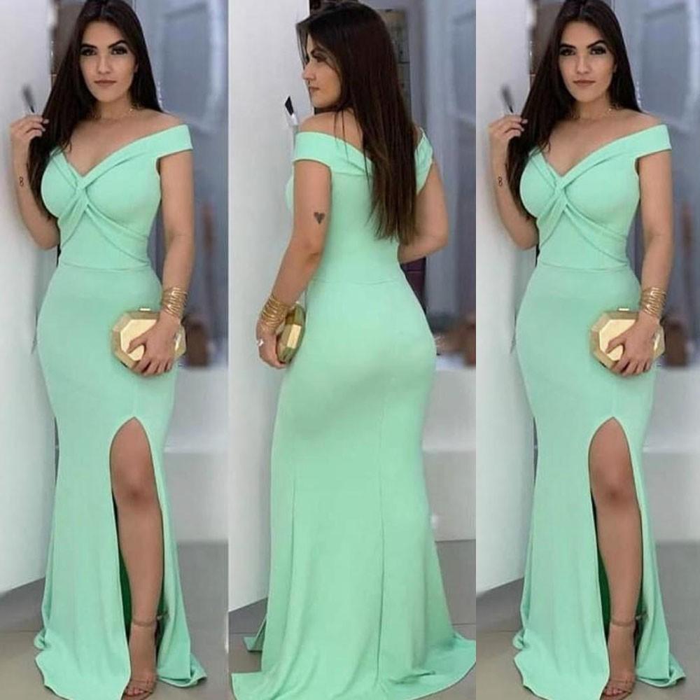 Vestido de Festa Longo com Fenda Trançado Verde Tiffany