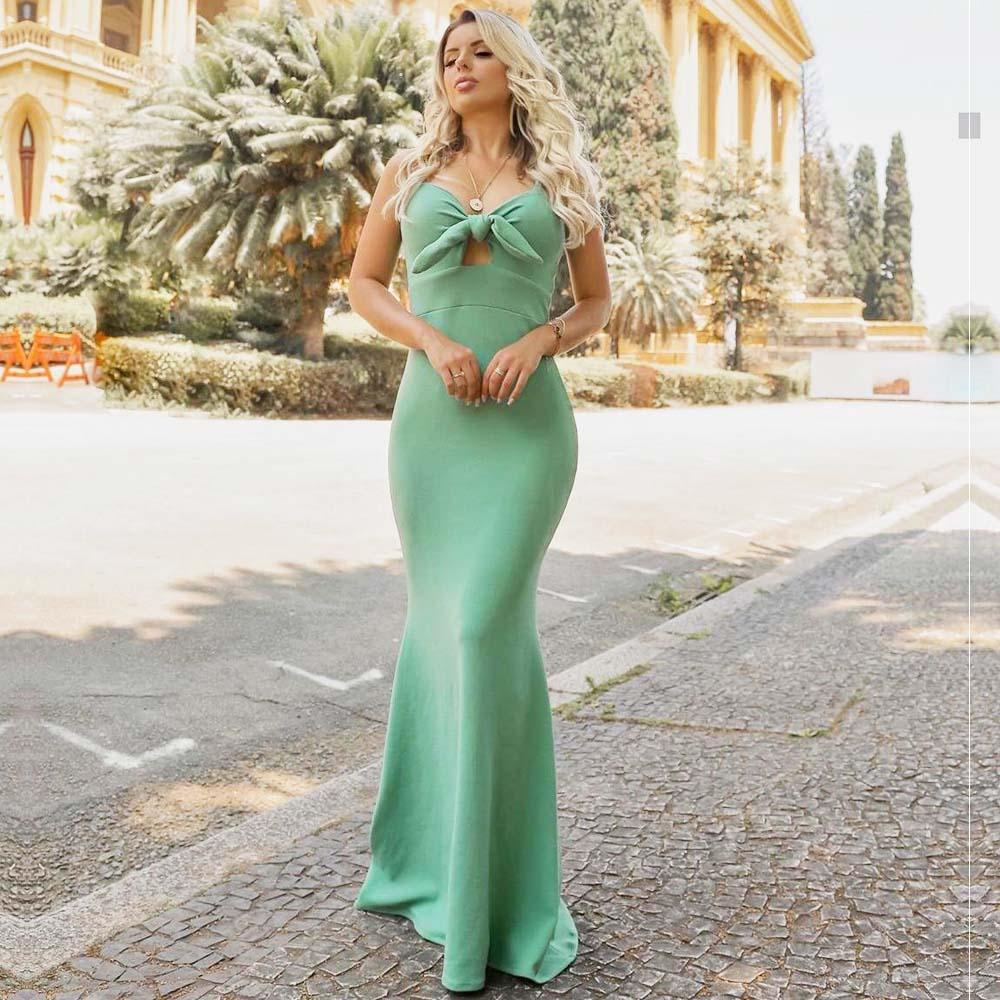 Vestido de Festa Longo com Nó Verde