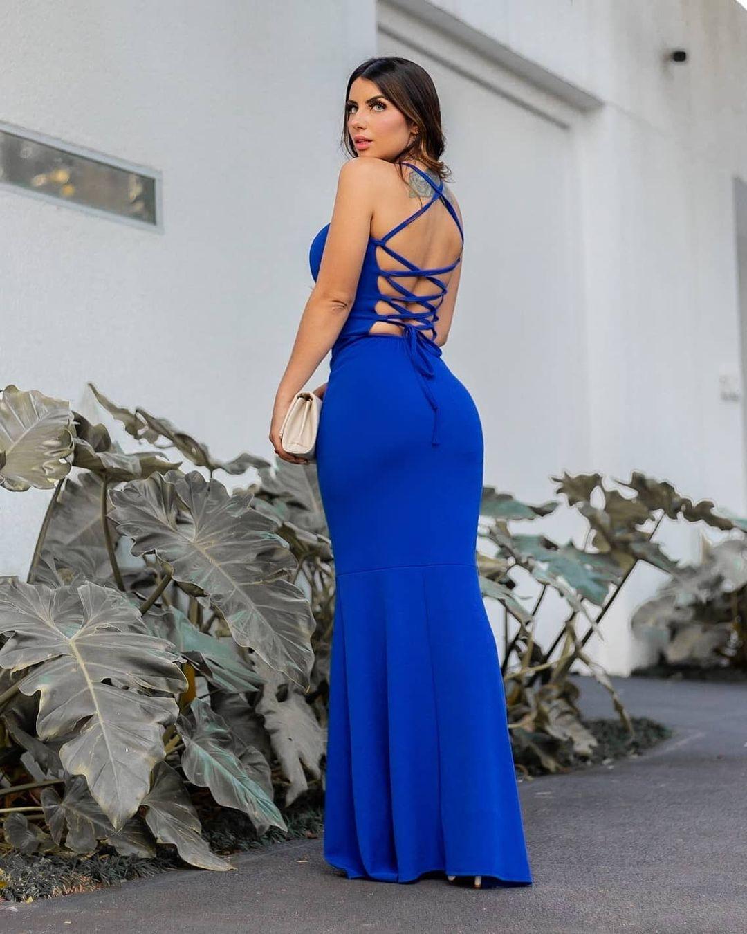 Vestido de Festa Longo decote trançado Azul
