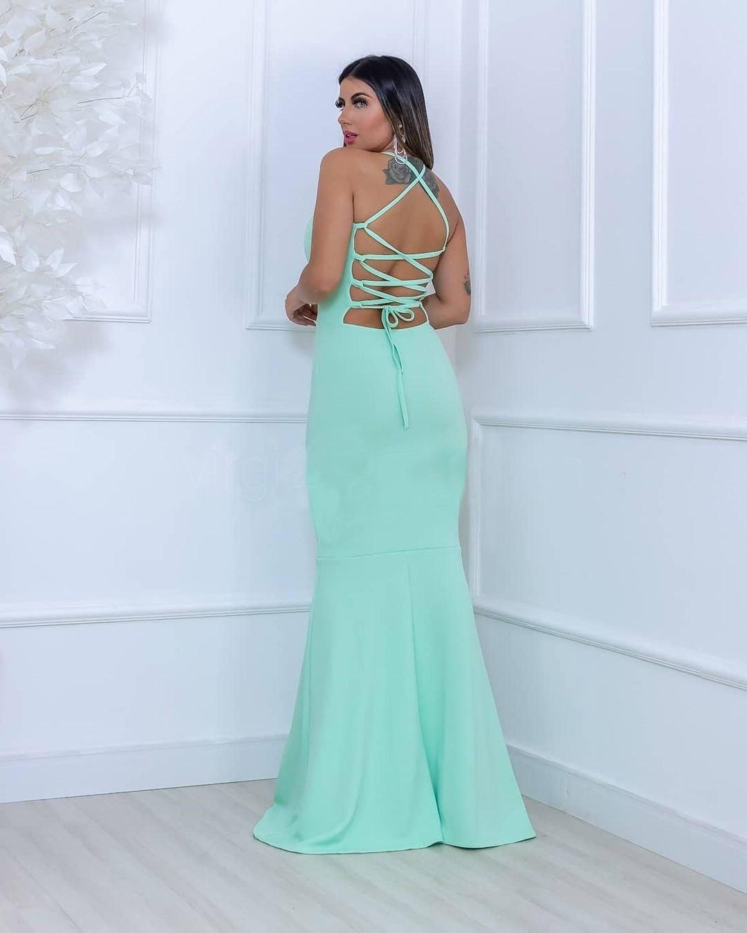 Vestido de Festa Longo decote trançado Verde Tiffany
