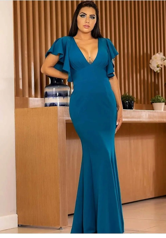 Vestido de Festa Longo Decote V em Crepe Azul Petróleo