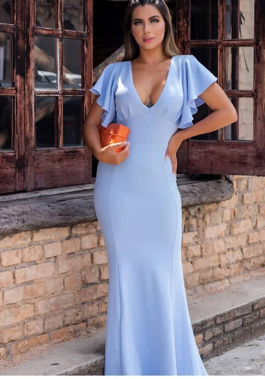 Vestido de Festa Longo Decote V em Crepe Azul Serenity