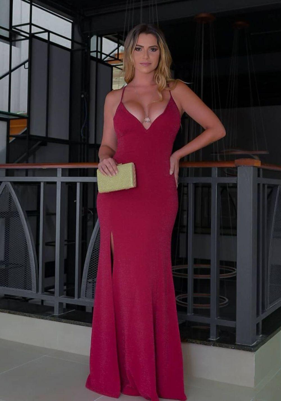 Vestido de Festa Longo Decote V lurex Vermelho