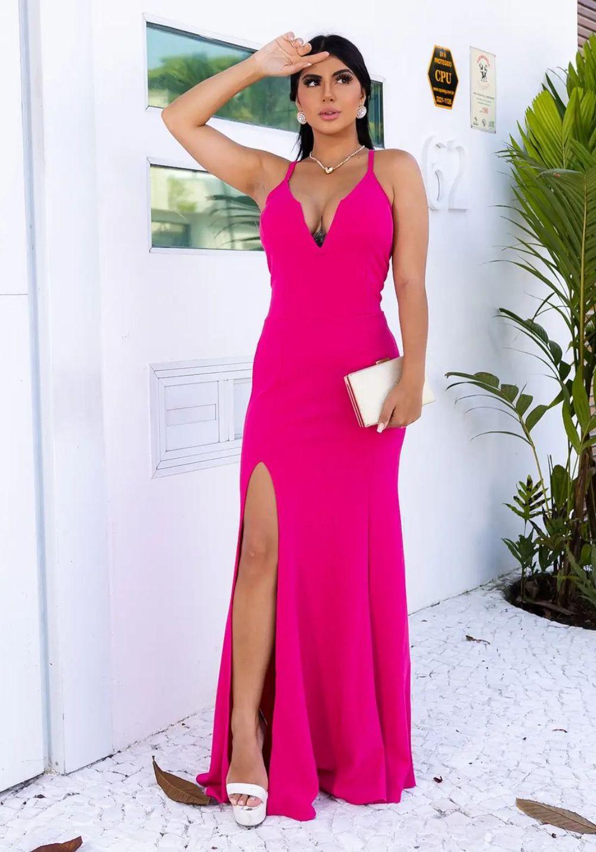 Vestido de Festa Longo Decote V Pink