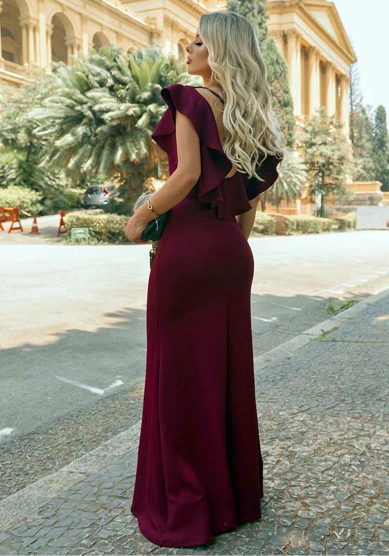 Vestido de Festa Longo em Crepe Marsala