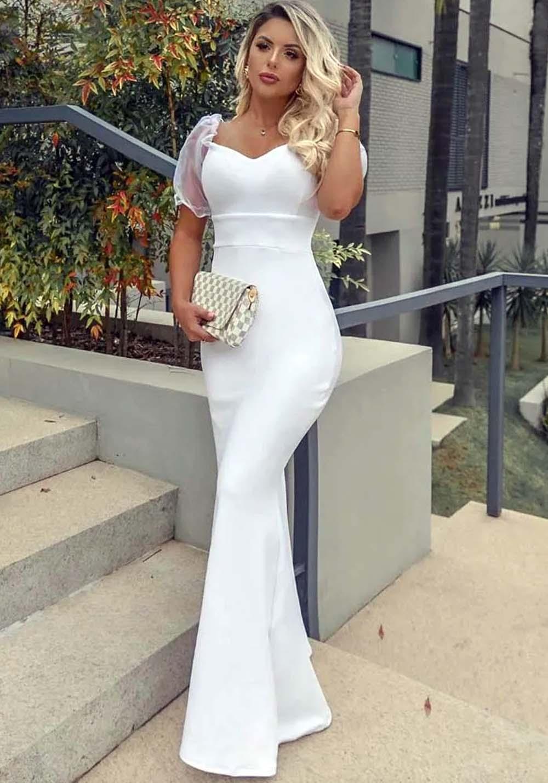 Vestido de Festa Longo Manga Bufante Tule Branco