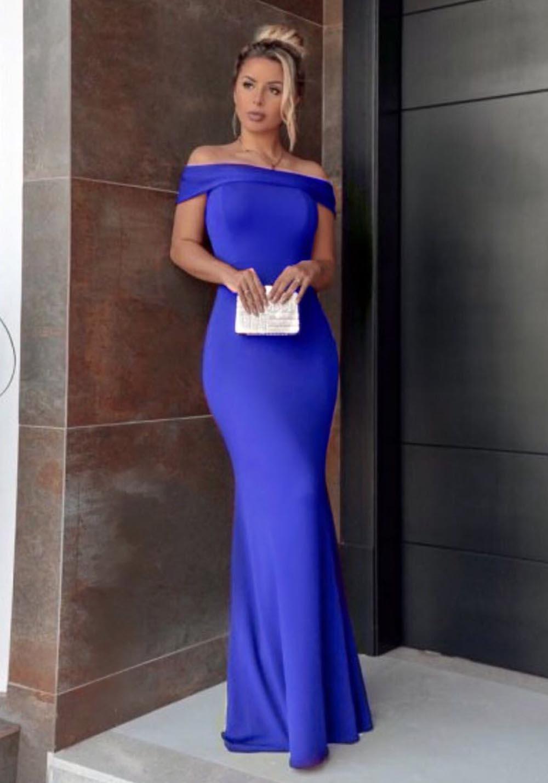 Vestido de Festa Longo Ombro a Ombro Azul Bic