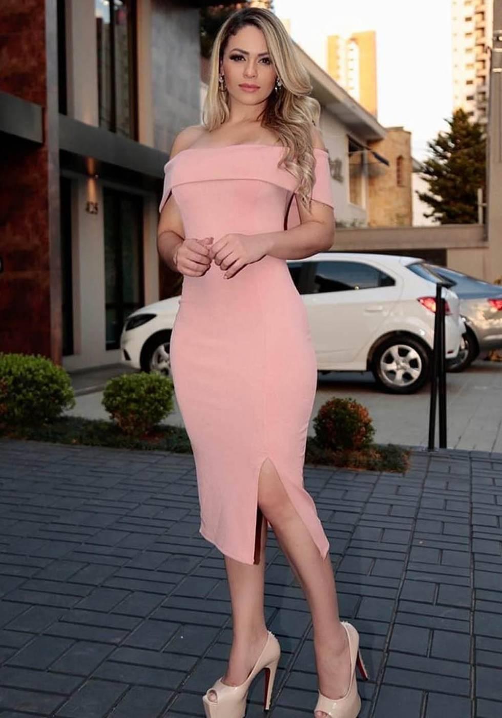 Vestido de Festa Midi com Fenda Ombro a Ombro Rosê
