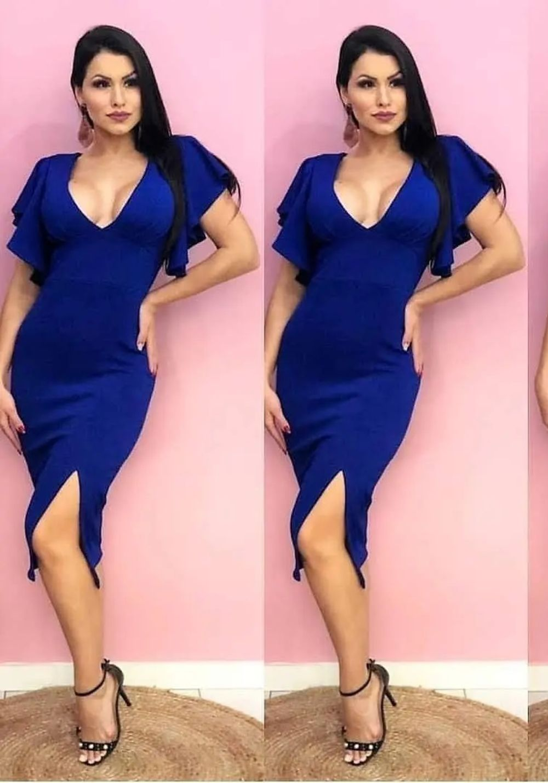 Vestido de Festa Midi de Manga Azul Bic