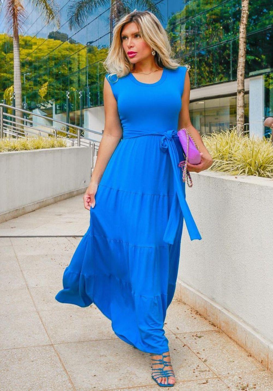 Vestido Longo Azul Neon