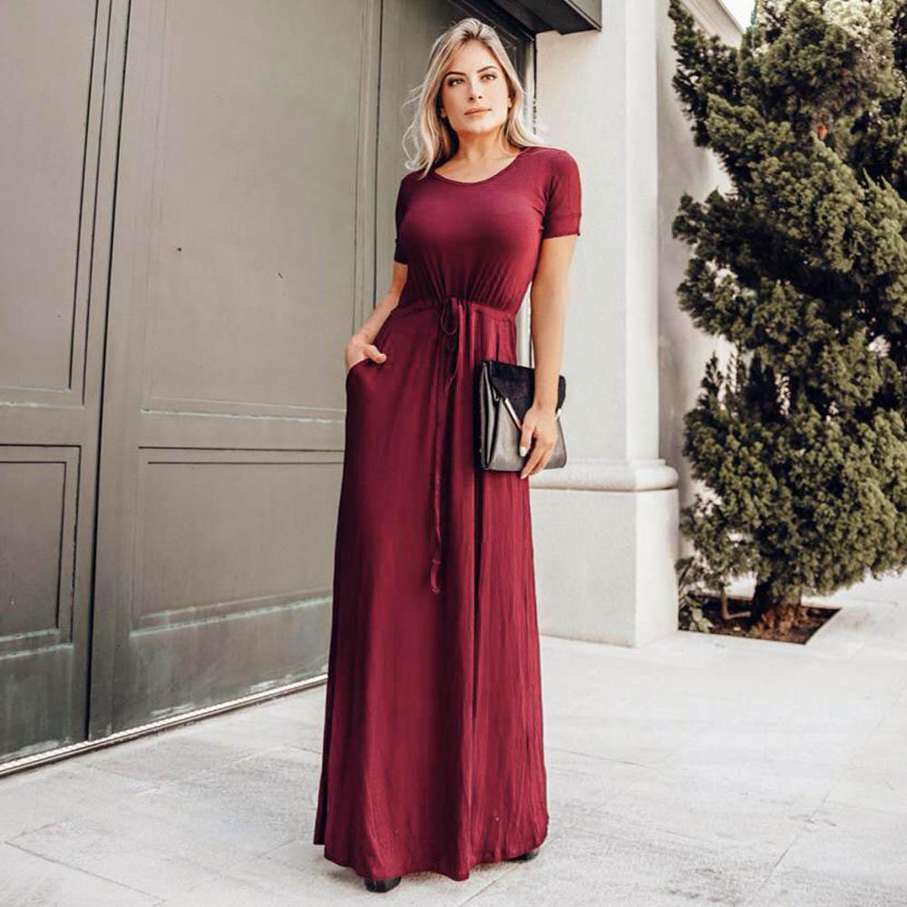 Vestido Longo com Bolso Marsala