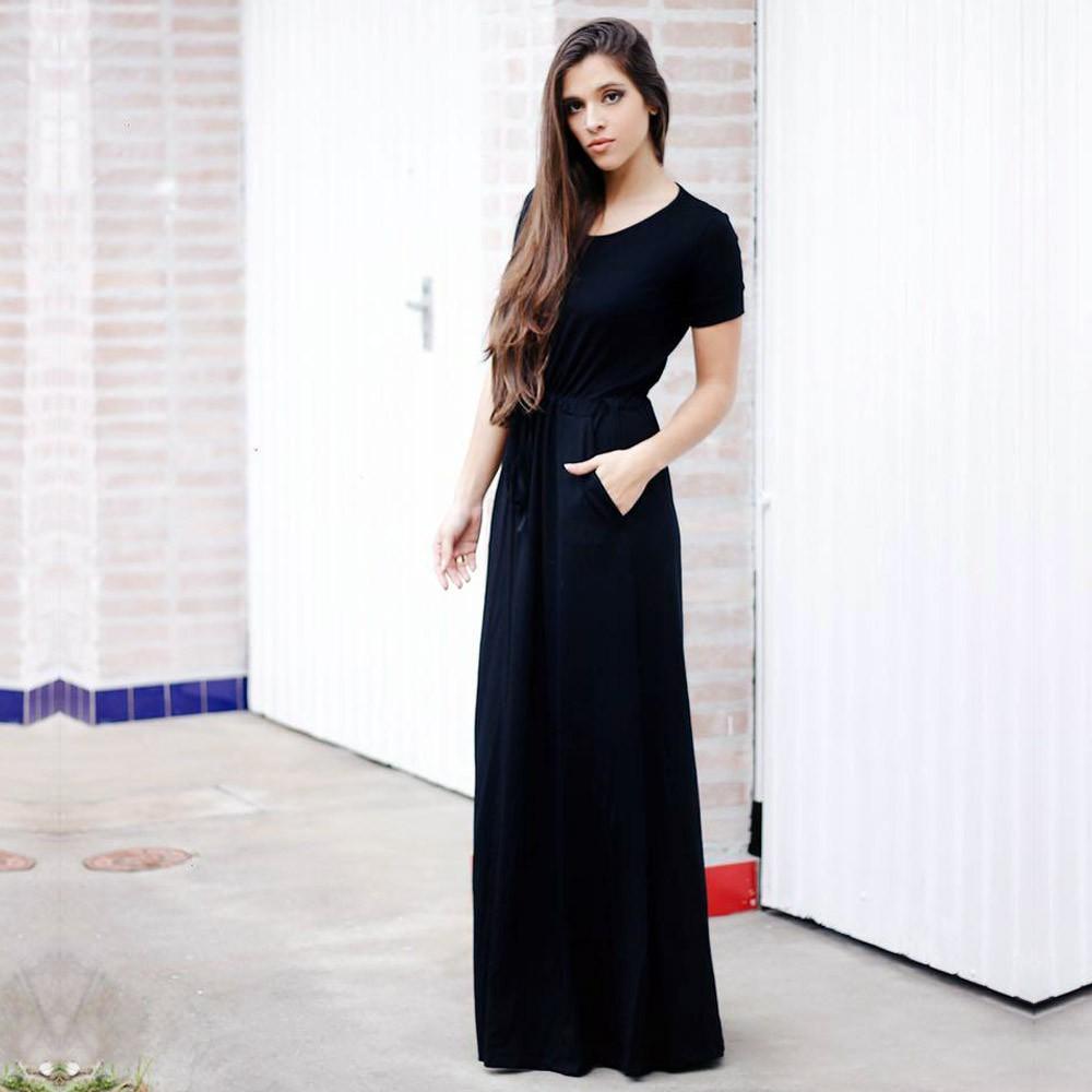 Vestido Longo com Bolso Preto