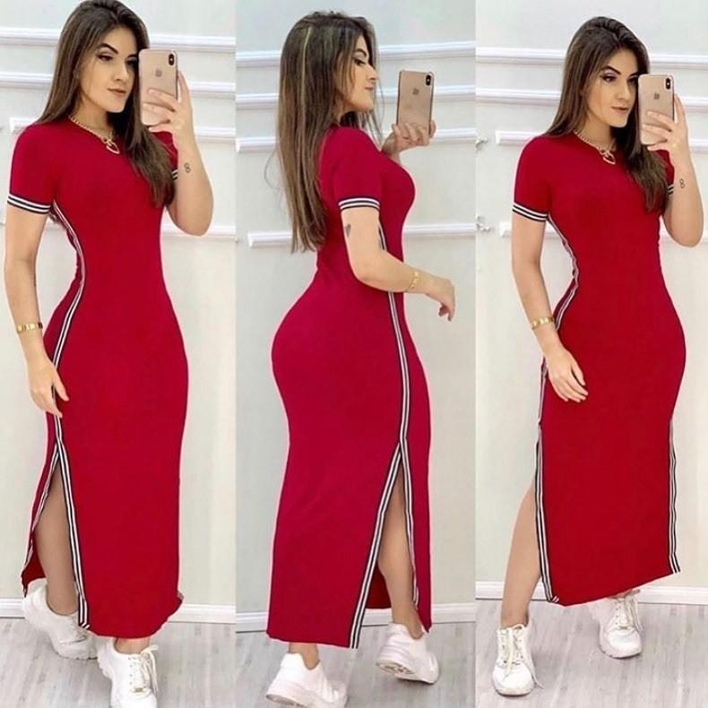 Vestido Longo com Faixa e Fenda Vermelho