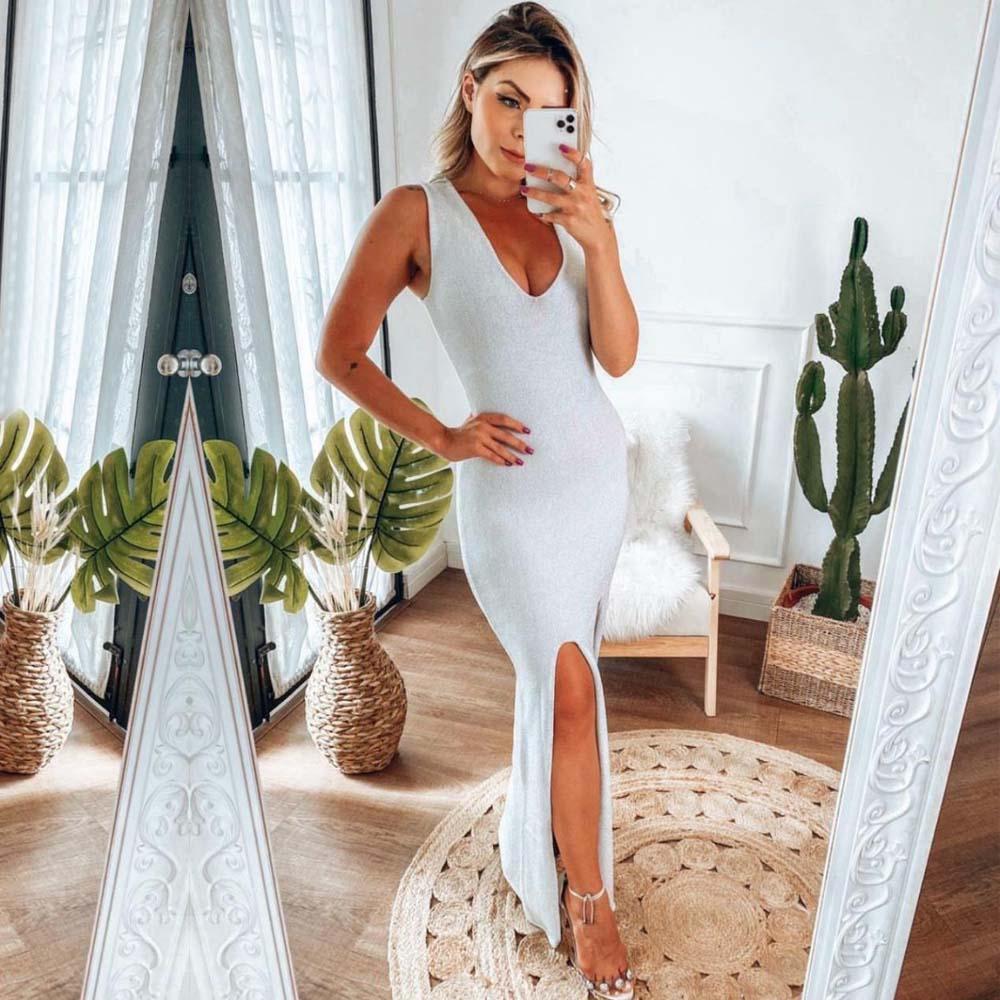 Vestido Longo com Fenda em Lurex Branco