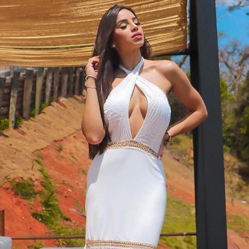 Vestido Longo Decote Cruzado em Tule Branco