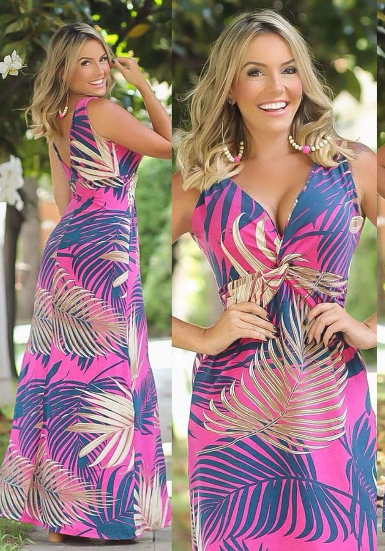 Vestido Longo decote V Floral Pink