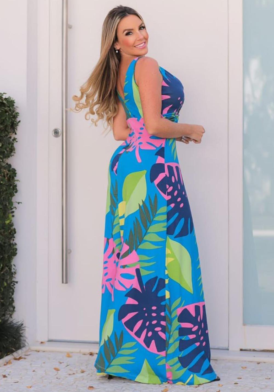 Vestido Longo Decote V Folhas 06