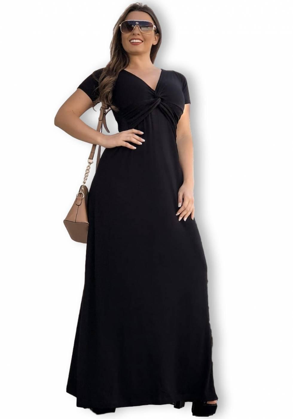Vestido Longo Decote V Preto