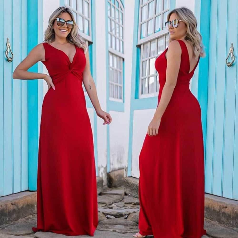 Vestido Longo Decote V Vermelho