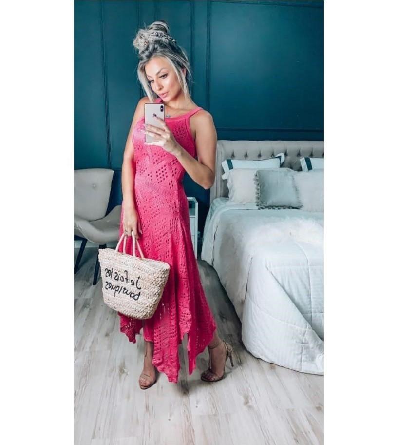 Vestido Longo em Tricot Pontas Pink