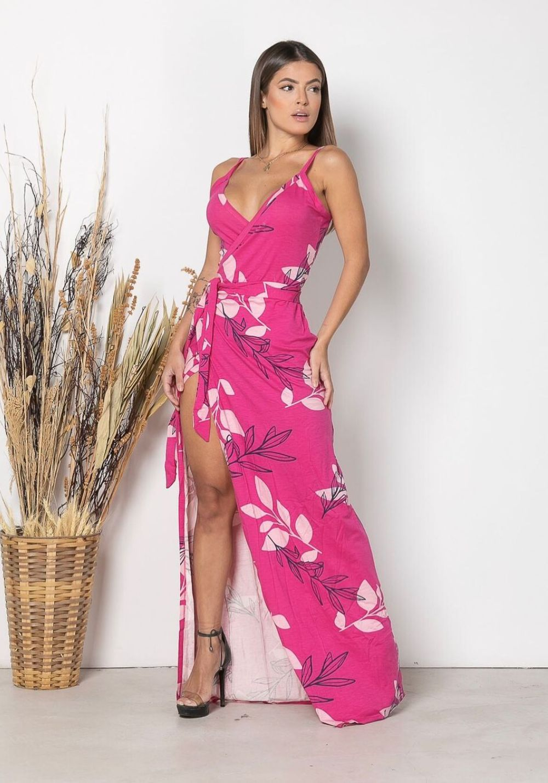 Vestido Longo Envelope Folhas Rosa