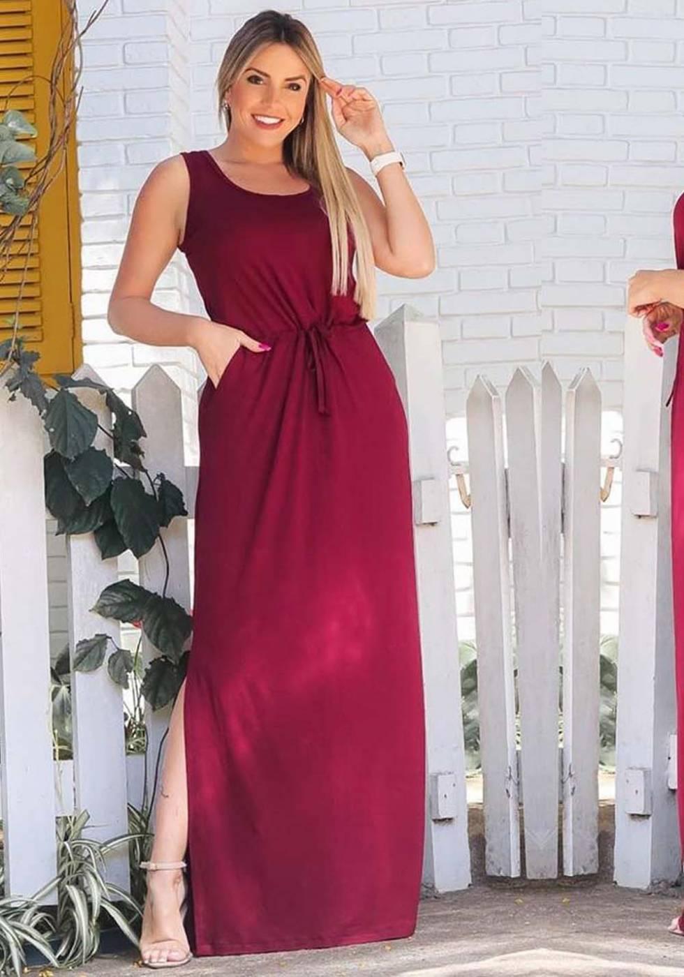 Vestido Longo Fenda com Bolso Marsala