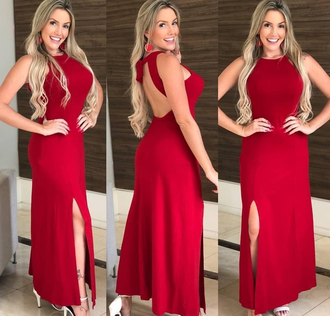 Vestido Longo Fenda e Costas Nua Vermelho