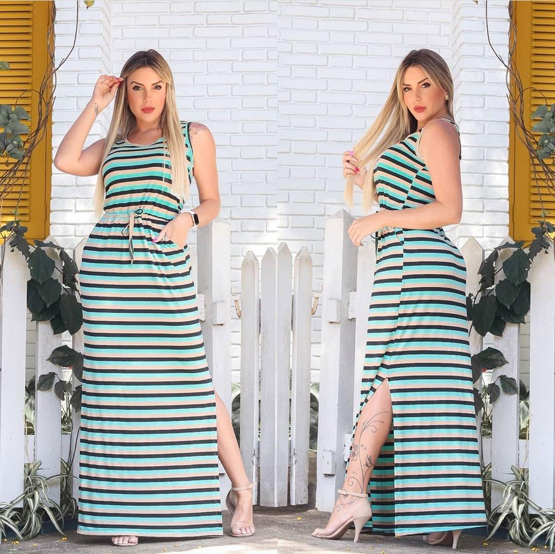 Vestido Longo Fenda Listrado com Bolso Verde
