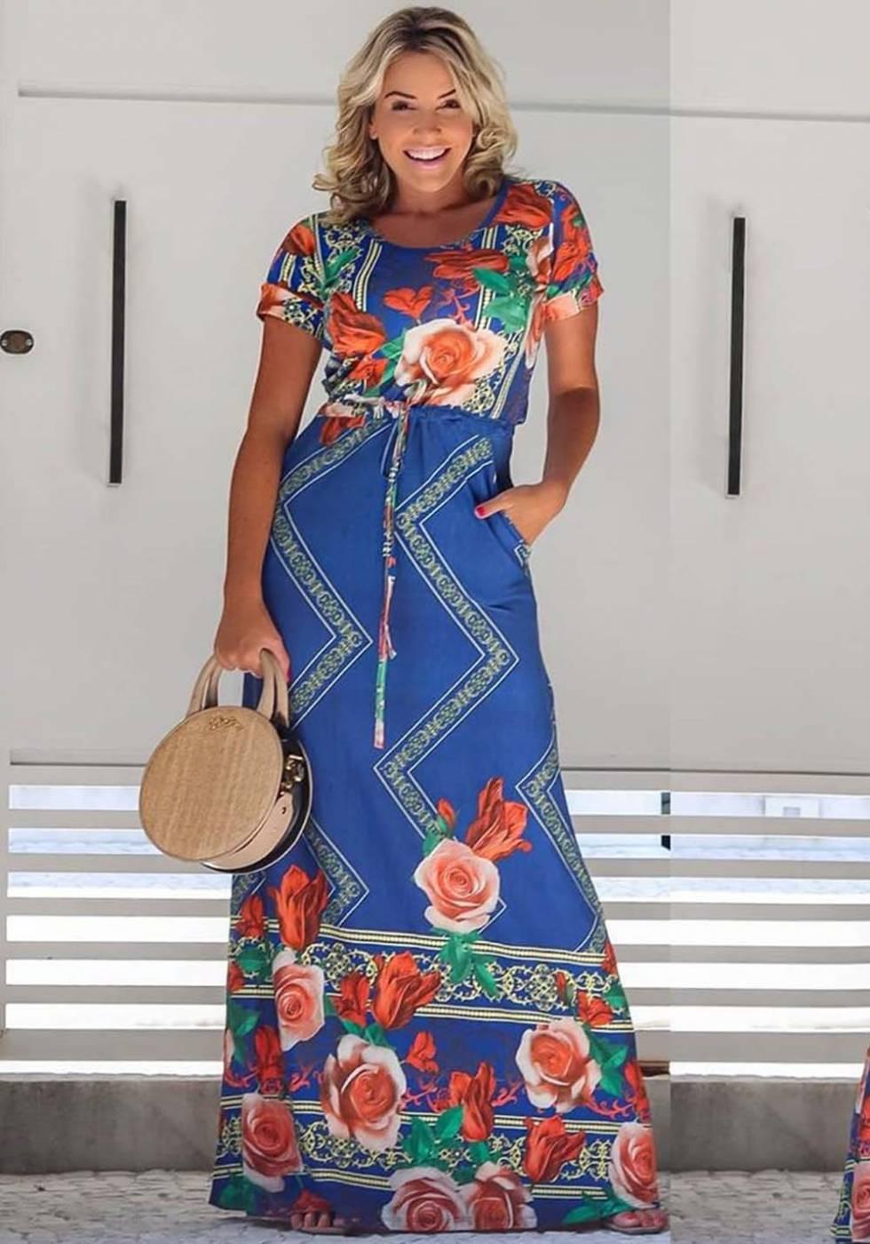 Vestido Longo Floral com Bolso Azul