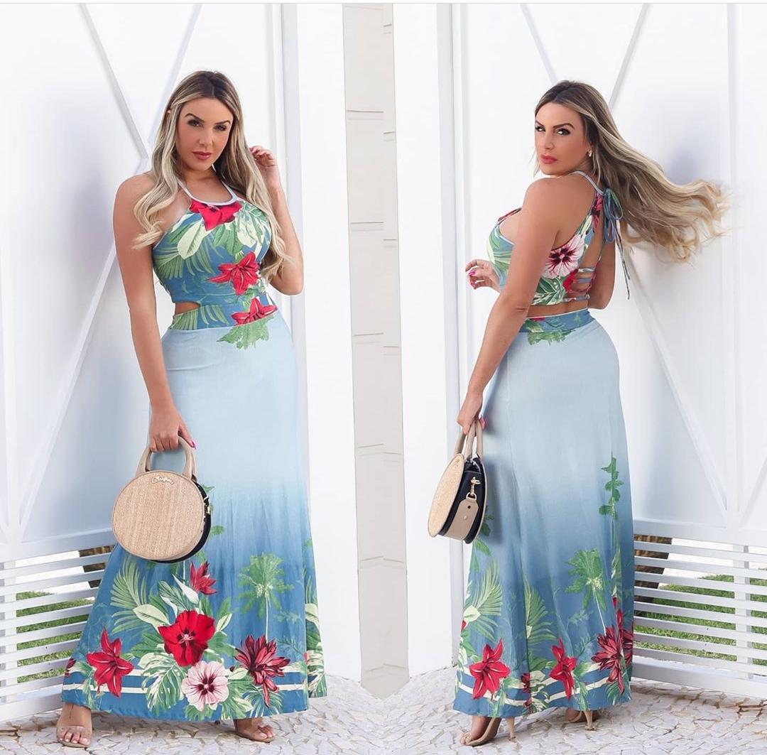 Vestido Longo Floral Degradê Azul