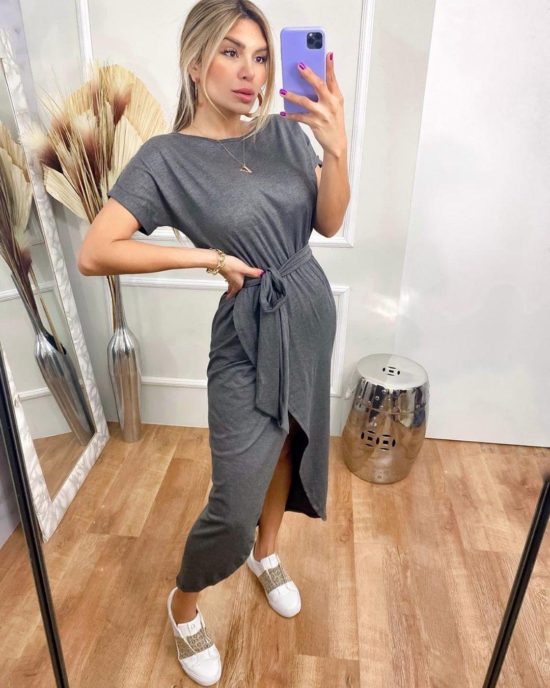 Vestido Longo Mullet Cinza
