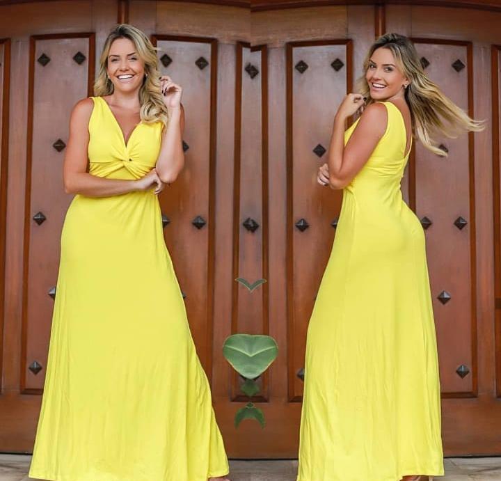 Vestido Longo Nó Decote V Amarelo