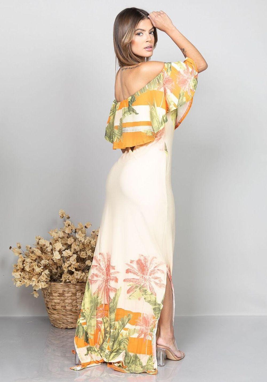 Vestido Longo Ombro a Ombro com Fenda Folhas 03