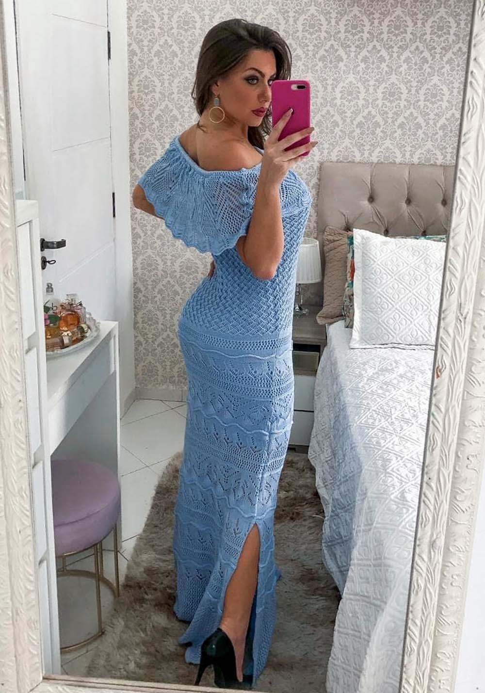 Vestido Longo Ombro a Ombro em Tricot Azul 01