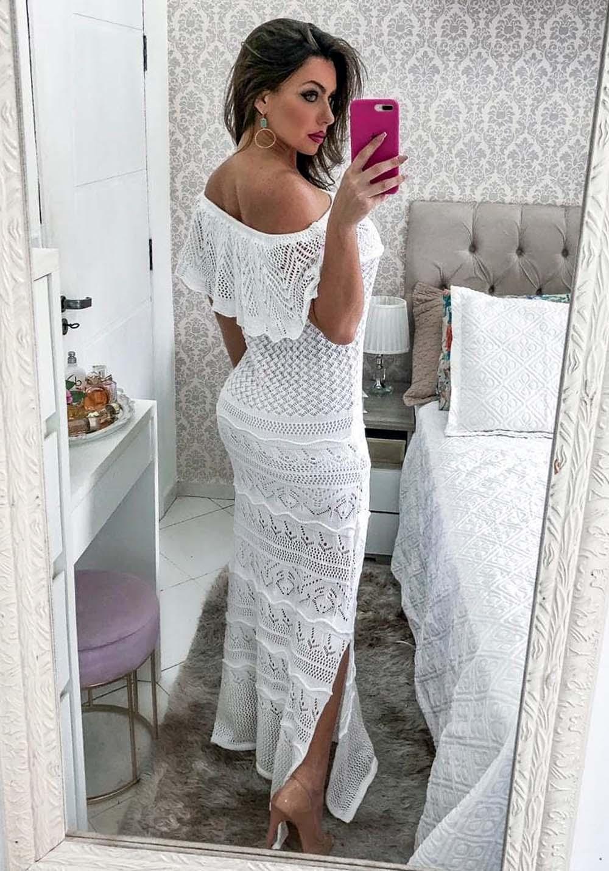 Vestido Longo Ombro a Ombro em Tricot Branco 01