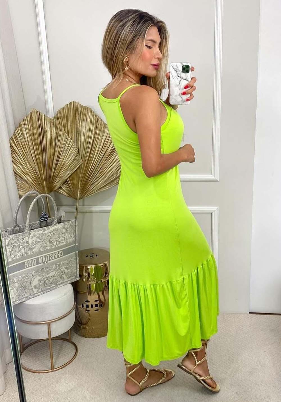 Vestido Longo Peplum Verde Fluor