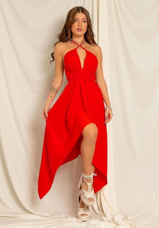 Vestido Longo Pontas Vermelho