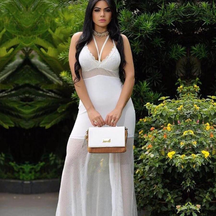 Vestido Longo Renda Strappy Arrastão